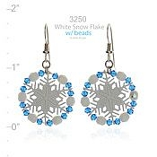 Beaded Arctic White Snowflake Earrings